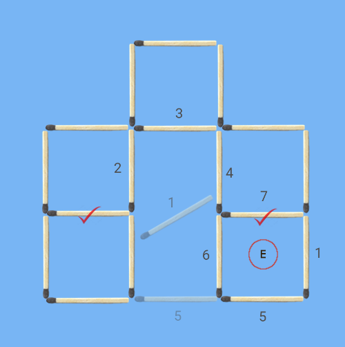6 squares to 5 squares in 2 stick moves first solution