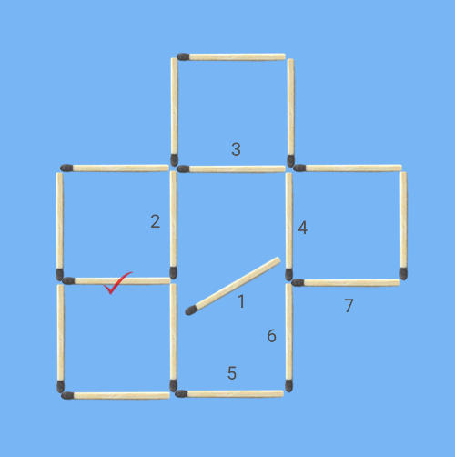 6 squares to 5 squares in 2 stick moves stick 1 first move