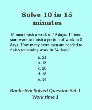 Bank clerk solved question set 1 work time 1