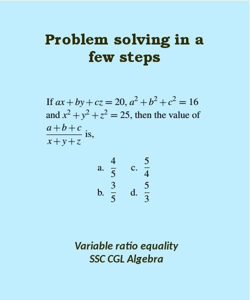 how to solve difficult algebra question variable ratio equality