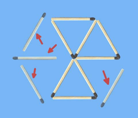 remove 4 matches to get 3 triangles matchstick puzzle solution