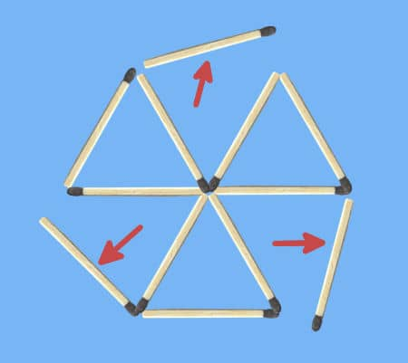 remove 4 matches to get 3 triangles puzzle 3 independent triangles