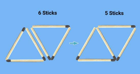 remove 4 sticks puzzle common stick between two triangles