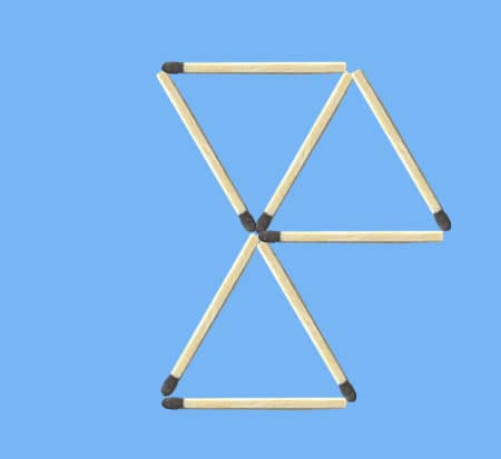 remove- 4 to get 3 triangles puzzle solution figure