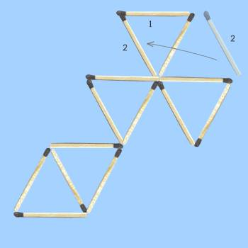 solution to six triangle matchstick puzzle 1 stage 2