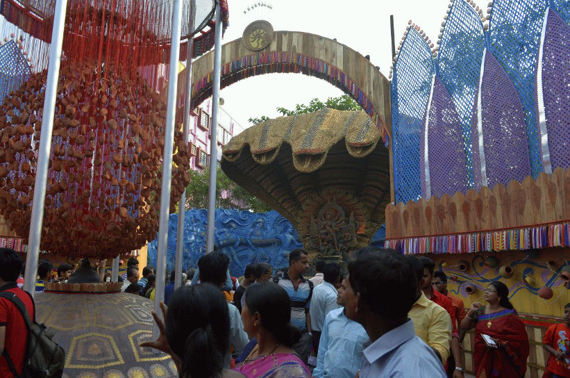 Riot of colors and patterns, first Puja pandal