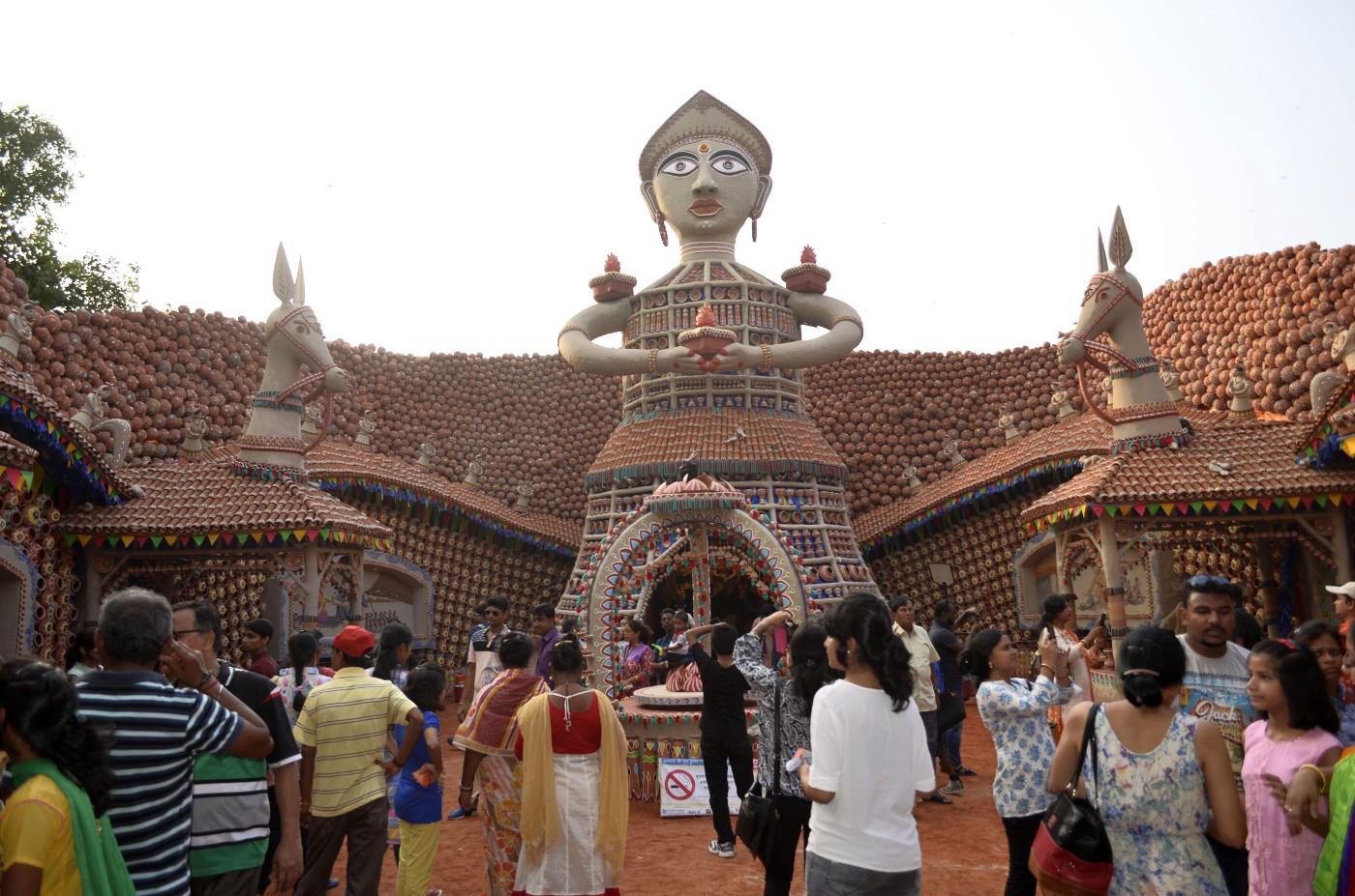 Rising figure above the entrance, Kolkata Durga Puja 2015